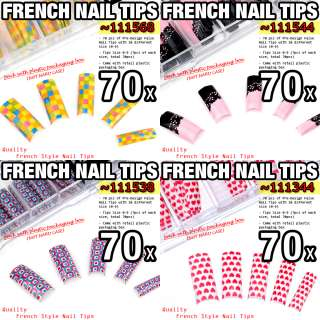 70 pcs Acrylic French False Nail Tips Patterns   V01