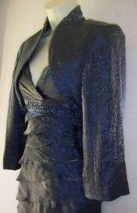 Shutter Pleats Mother Bride Long Dress Jacket Bolero Formal 10