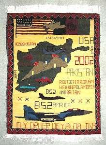 Amazing Hand Woven Afghan Afghani War Rug   A Genuine Piece of World