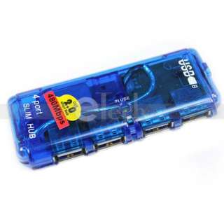 New Mini 4 Port USB 2.0 High Speed Hub for PC Laptop Slim Blue