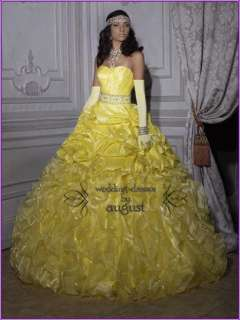 Yellow Pleated Brilliant Ball Gown Quinceanera Prom Girl Party Dresses