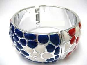Red White Blue Patrotic Heart Painted Wide Bangle New 2.5 Dia w/ Gift