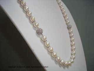 Schmuckset aus Echten Perlen rund weiß 9mm und funkelnden