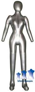 Inflatable Female Mannequin FULL SIZE Head/Arms SILVER