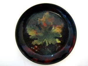 Signed Small Round Vintage Copper Enamel Tray Leaf