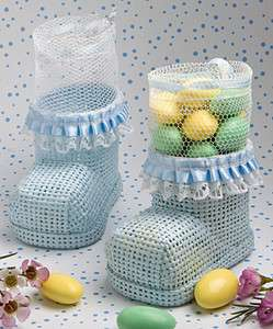 50 Blue Boy Baby Bootie Mesh Bag Baby Shower Favor Bulk Lot
