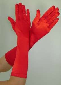 ELBOW Length Stretch SATIN Gloves RED