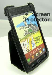 Samsung Galaxy Note N7000 i9220 Stand Genuine Leather Flip Case + SP