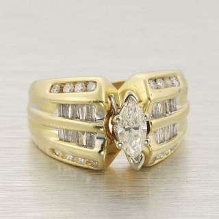 Vintage Estate 14k Yellow Gold Marquise Cut Diamond Cocktail Ring