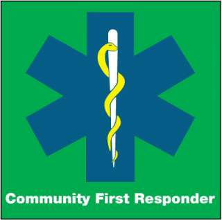 COMMUNITY FIRST RESPONDER ,CAR WINDOW STICKER.