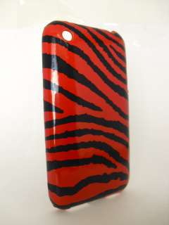 IPHONE 3G 3GS PLASTIC HARD CASE RED BLACK TIGER LINES