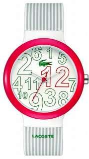 New Lacoste 2020013 Goa Gray / White / Red Pinstripe Unisex Watch