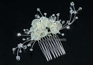 Bridal Ivory Flower Satin Handmade Hair Comb T1376