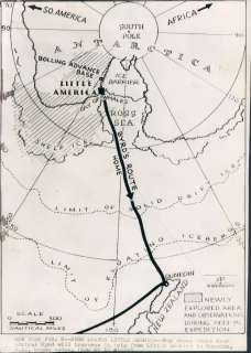 1935 Map of Rear Adm. Richard E. Byrd Expedition Route