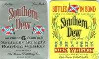 DIXIE Confederate Flags SOUTHERN DEW Whiskey Labels
