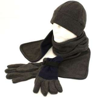 Mens Winter Fleece Beanie Skull Hat Scarf Gloves Ski Snow Gift Set