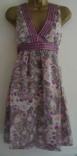 BNWT H&M Brown Purple Peacock Print Dress Size EU 38 10