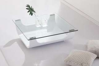 ICEBERG GLASS TOPPED BENT WOOD SHINY WHITE COFFEE TABLE