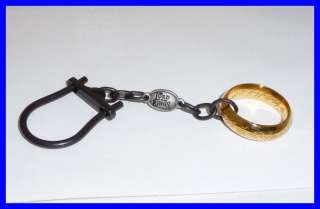 LOTR Lord Rings KEYRING with THE ONE RING 24kt Gold Plated OFFICIAL