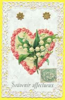 CPA DENTELLE découpis MUGUET CŒUR de ROSES embossed postcard LILY OF