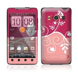 Pink Abstract Flower Protective Skin Cover Decal Sticker for HTC Evo