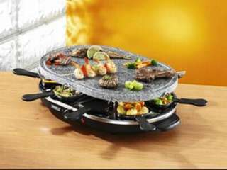 Swan Raclette Party Grill Set in Rustic Stone New