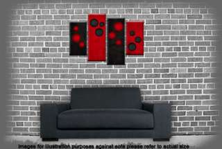 LARGE RED AND BLACK CANVAS ABSTRACT WALL ART PICTURE 4 SET SPLIT MULTI