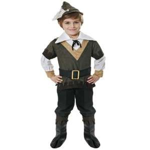 CHILDRENS KIDS ROBIN HOOD FANCY DRESS COSTUME OUTFIT HAT SHIRT BELT