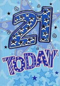 21ST BIRTHDAY CARDS QUALITY FOILED 21 TODAY CARD MALE