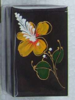 Small wooden gift box hand painted flower design motif