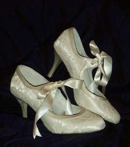 IVORY SATIN & LACE Vintage Style Bridal Wedding Shoes