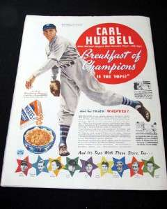 1937 Saturday Evening Post Magazine Carl Hubbell Wheaties/Propeller NM