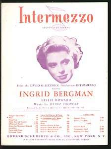 Intermezzo 1943 INGRID BERGMAN Movie Piano Sheet Music