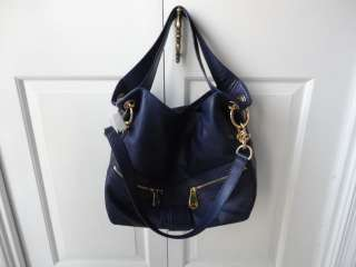 NEW MICHAEL KORS BLUE LEATHER LAYTON HOBO BAG $368