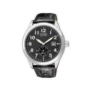 Citizen Mens Sub Second WR100 Black Dial Black Leather Strap Watch