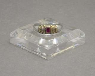 Mystery Ring   Garnet Set in Gold Silver Band Size 7