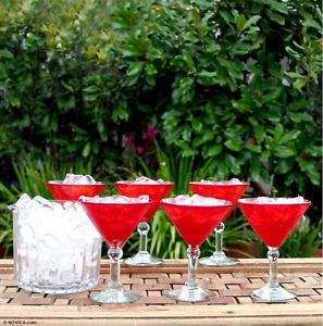 RUBY Red~Hand blown Martini Glass Set~Mexico NOVICA