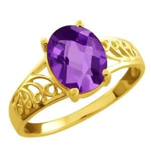 1.60 Ct Checkerboard Purple Amethyst Gold Plated Sterling