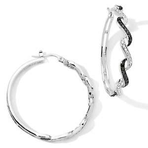 Justine Simmons Jewelry Black and Clear CZ Hoop Earrings