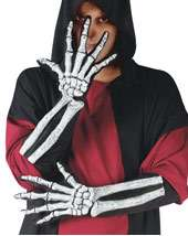 Adult Long Skeleton and Wrist Bone Gloves