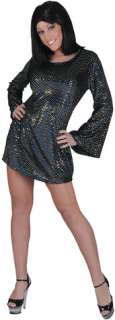 Disco Babe Black Dress Std (Adult Costume)