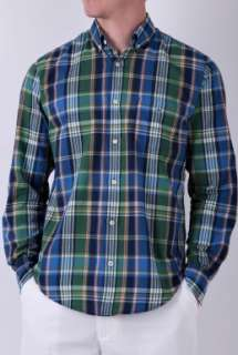 Blue and Green Plaid Shirt by Hartford   Blue   Buy Shirts Online at