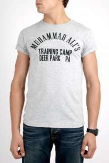 Worn Free  Grey Muhammad Ali Training Camp T Shirt by Worn Free