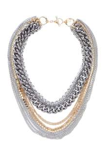 Anton Heunis  Multi Chain Necklace In Gold And Silver by Anton Heunis