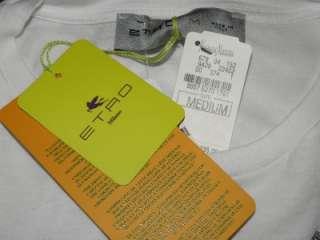 ETRO Milano White Paisley Print T Shirt Top M NWT $235