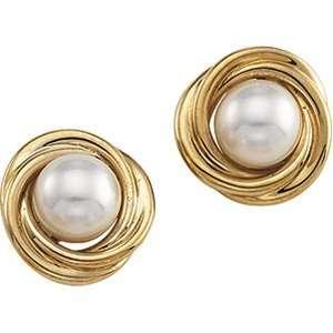 14K Yellow Gold Knot Akoya Pearl Earrings Jewelry
