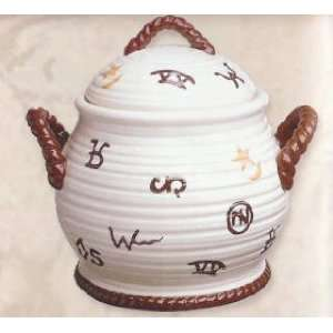 COWBOY Western CHILI Crock BEAN POT Soup Tureen White with Cattle