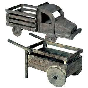 Wood Wheel Barrow & Old Truck Planter Set III Patio, Lawn