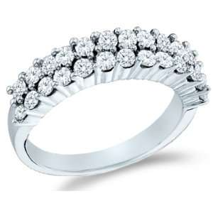 Size   7   14k White Gold Round Cut Diamond Ladies Womens
