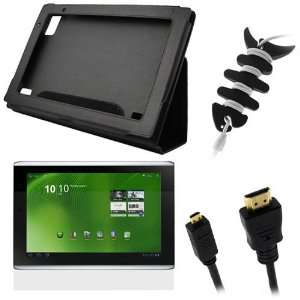 Black Leather Carrying Cover Case Folio with Built in Stand + LCD